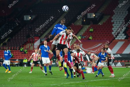 Danny Welbeck of Brighton and Hove Albion wins a header during the Premier League match between Sheffield United and Brighton and Hove Albion at Bramall Lane, Sheffield on 24th April 2021.