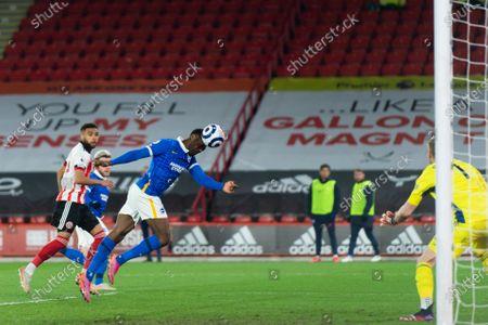 Danny Welbeck of Brighton and Hove Albion misses with a header during the Premier League match between Sheffield United and Brighton and Hove Albion at Bramall Lane, Sheffield on 24th April 2021.