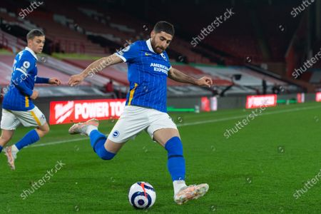 Alireza Jahanbakhsh of Brighton and Hove Albion on the ball during the Premier League match between Sheffield United and Brighton and Hove Albion at Bramall Lane, Sheffield on 24th April 2021.