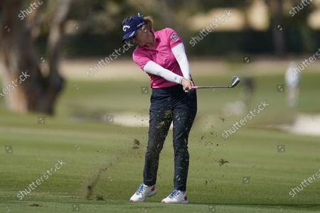 Stock Image of Morgan Pressel hits from the 13th fairway during the final round of the LPGA's Hugel-Air Premia LA Open golf tournament at Wilshire Country Club, in Los Angeles