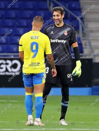 Stock Picture of Diego Lopez and Jese during the match between RCD Espanyol and UD Las Palmas, corresponding to the week 36 of the Liga Smartbank, played at the RCDE Stadium on 24th April 2021, in Barcelona, Spain.
