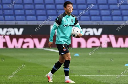 Wu Lei during the match between RCD Espanyol and UD Las Palmas, corresponding to the week 36 of the Liga Smartbank, played at the RCDE Stadium on 24th April 2021, in Barcelona, Spain.