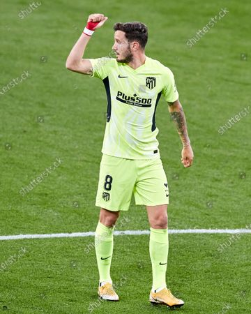 Saul Niguez of Atletico de Madrid reacts during the La Liga match between Athletic Club and Club Atletico de Madrid at San Mames stadium on April 25, 2021 in Bilbao, Spain.