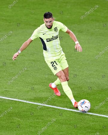 Yannick Carrasco of Atletico de Madrid in action during the La Liga match between Athletic Club and Club Atletico de Madrid at San Mames stadium on April 25, 2021 in Bilbao, Spain.