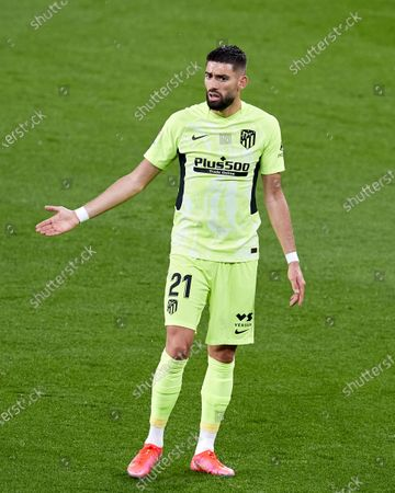 Yannick Carrasco of Atletico de Madrid reacts during the La Liga match between Athletic Club and Club Atletico de Madrid at San Mames stadium on April 25, 2021 in Bilbao, Spain.