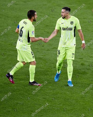 Jorge Resurrecion ÒKokeÓ and Hector Miguel Herrera of Atletico de Madrid reacts during the La Liga match between Athletic Club and Club Atletico de Madrid at San Mames stadium on April 25, 2021 in Bilbao, Spain.