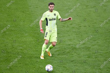 Saul Niguez of Atletico de Madrid in action during the La Liga match between Athletic Club and Club Atletico de Madrid at San Mames stadium on April 25, 2021 in Bilbao, Spain.