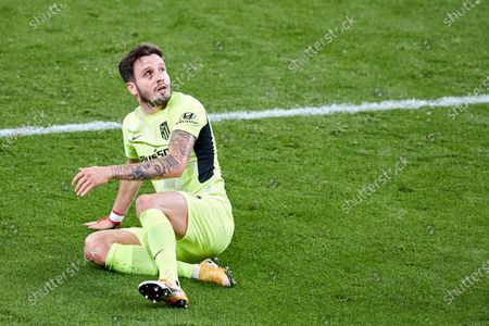 Saul Niguez of Atletico de Madrid looks on during the La Liga match between Athletic Club and Club Atletico de Madrid at San Mames stadium on April 25, 2021 in Bilbao, Spain.