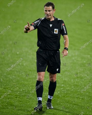 Referee Jorge Figueroa Vazquez reacts during the La Liga match between SD Eibar and Real Sociedad at Ipurua stadium on April 26, 2021 in Eibar, Spain.