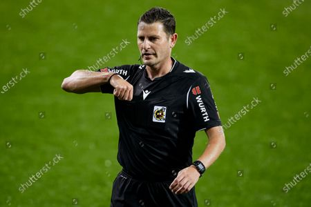Referee Jorge Figueroa Vazquez in action during the La Liga match between SD Eibar and Real Sociedad at Ipurua stadium on April 26, 2021 in Eibar, Spain.