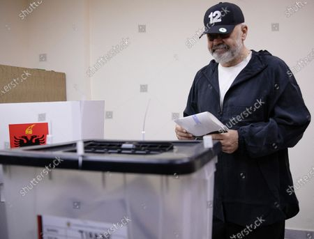 Prime Minister Edi Rama prior to casts his ballot at a polling station in Tirana, Albania, 25 April 2021. Albanians head to the polls on 25 April to vote in the parliamentary elections.