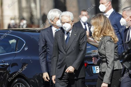 Stock Photo of Italian President Sergio Mattarella at the Tomb of the Unknown Soldier to mark the 76th Liberation Day, in Rome, Italy, 25 April 2021.