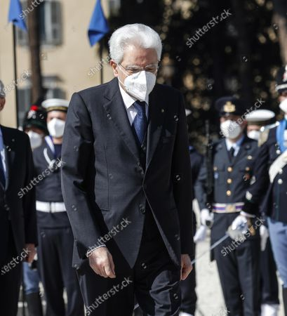Italian President Sergio Mattarella at the Tomb of the Unknown Soldier to mark the 76th Liberation Day, in Rome, Italy, 25 April 2021.