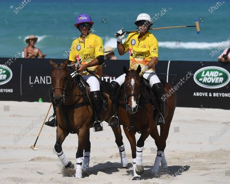 Torito Ruiz and Nacho Figueras of team Seminole Coconut Creek Casino play during The World Polo League Beach