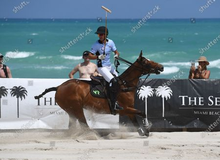 Stock Picture of Nicolas Roldan of team GFI plays during The World Polo League Beach