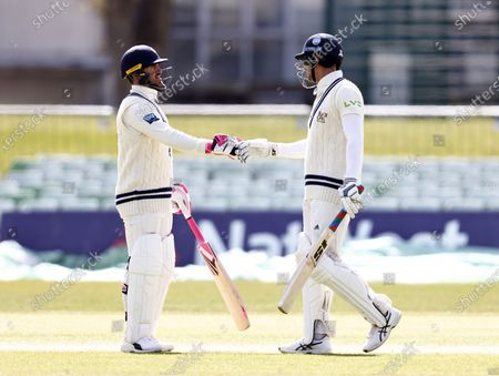 Heino Kuhn (L) and Joe Denly of Kent during Kent CCC vs Lancashire CCC, LV Insurance County Championship Group 3 Cricket at The Spitfire Ground on 25th April 2021