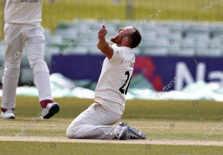 Stock Picture of Danny Lamb of Lancashire celebrates taking the wicket of Heino Kuhn during Kent CCC vs Lancashire CCC, LV Insurance County Championship Group 3 Cricket at The Spitfire Ground on 25th April 2021