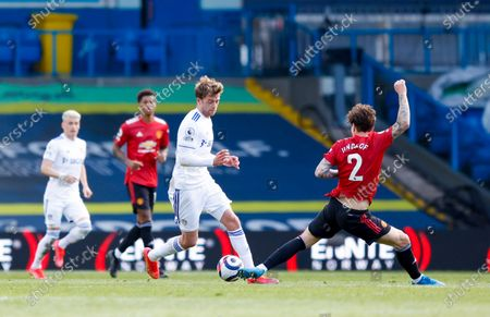 Leeds United forward Patrick Bamford (9) is just beaten to the ball by Manchester United defender Victor Lindelof (2)  during the Premier League match between Leeds United and Manchester United at Elland Road, Leeds