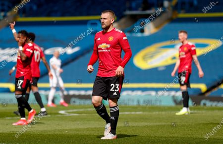 Manchester United defender Luke Shaw (23)   at the Premier League match between Leeds United and Manchester United at Elland Road, Leeds