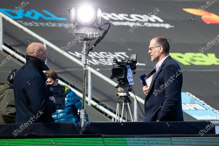 Stock Image of Martin Bayfield on television duty at the Ricoh Arena