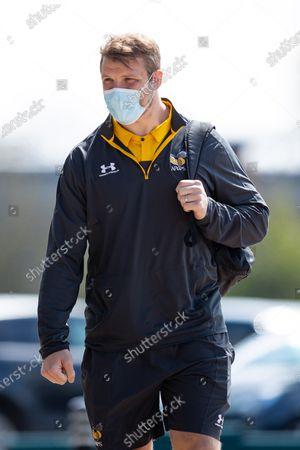 Joe Launchbury of Wasps arrives at the Ricoh Arena