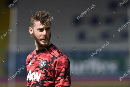 Goalkeeper David de Gea of Manchester United looks on ahead of the English Premier League soccer match between Leeds United and Manchester United in Leeds, Britain, 25 April 2021.