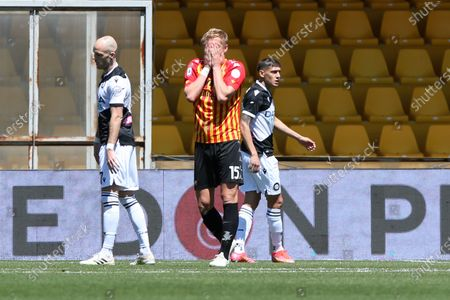 Kamil Glik (Benevento) dejected during the Serie A match between Benevento Calcio and Udinese Calcio at Stadio Comunale Ciro Vigorito on April 25, 2021 in Benevento, Italy.