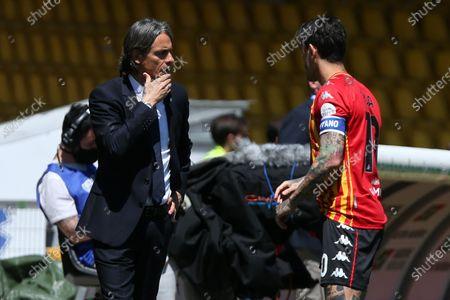 Stock Photo of Filippo Inzaghi and Gianluca Caprari (Benevento)  during the Serie A match between Benevento Calcio and Udinese Calcio at Stadio Comunale Ciro Vigorito on April 25, 2021 in Benevento, Italy.