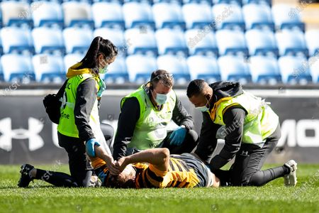 Joe Launchbury, captain, of Wasps Rugby injured during the Gallagher Premiership Rugby match between Wasps and Bath Rugby at the Ricoh Arena, Coventry