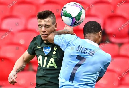 Manchester City's Raheem Sterling (R) in action against Tottenham's Giovani Lo Celso (L) during the Carabao Cup Final between Manchester City and Tottenham Hotspur at Wembley in London, Britain, 25 April 2021.