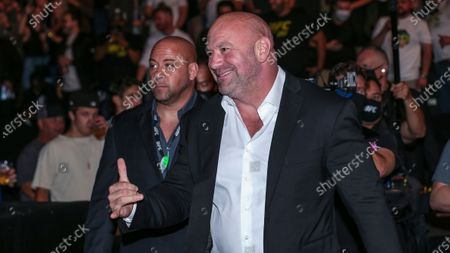 President Dana White interacts with fans during a UFC 261 mixed martial arts event, in Jacksonville, Fla. This is the first UFC event since the onset of the COVID-19 pandemic to feature a full crowd in attendance