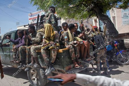Stock Picture of Military forces supporting anti-government opposition groups drive on a street in the Fagah area of Mogadishu, Somalia . Gunfire was exchanged Sunday between government forces loyal to President Mohamed Abdullahi Mohamed, who signed into law on April 14 a two year extension of his mandate and that of his government, and other sections of the military opposed to the move and sympathetic to former presidents Hassan Sheikh Mohamud and Sharif Sheikh Ahmed