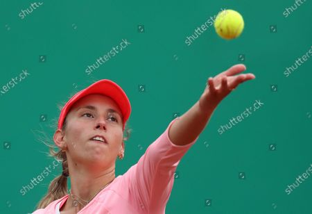 Elise Mertens of Belgium in action during her final match against Sorana Cirstea of Romania at the TEB BNP Paribas Tennis WTA Istanbul Championships in Istanbul, Turkey, 25 April 2021.