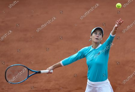 Sorana Cirstea of Romania in action during her final match against Elise Mertens of Belgium at the TEB BNP Paribas Tennis WTA Istanbul Championships in Istanbul, Turkey, 25 April 2021.