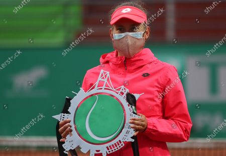 Elise Mertens of Belgium  poses with her second place trophy following her final match against Sorana Cirstea of Romania at the TEB BNP Paribas Tennis WTA Istanbul Championships in Istanbul, Turkey, 25 April 2021.