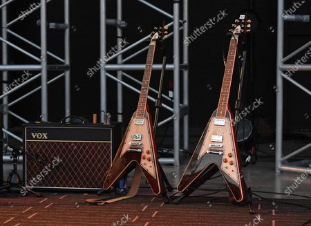 Stock Picture of Grace Gibson Signature Flying V on stage