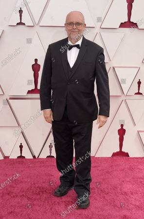 Mark Coulier arrives at the Oscars, at Union Station in Los Angeles