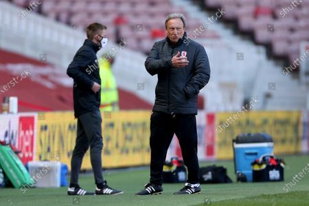 Middesbrough manager Neil Warnock  during the Sky Bet Championship match between Middlesbrough and Sheffield Wednesday at the Riverside Stadium, Middlesbrough on Saturday 24th April 2021.