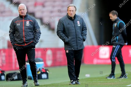 Middesbrough manager Neil Warnock (r) and Kevin Blackwell  during the Sky Bet Championship match between Middlesbrough and Sheffield Wednesday at the Riverside Stadium, Middlesbrough on Saturday 24th April 2021.
