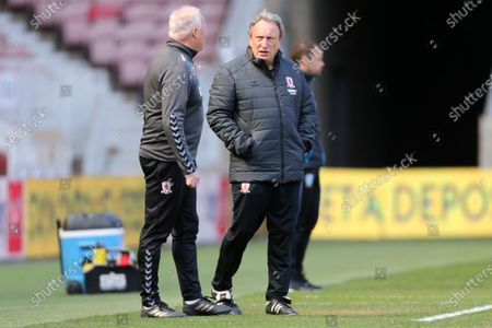 Middesbrough manager Neil Warnock and Kevin Blackwell during the Sky Bet Championship match between Middlesbrough and Sheffield Wednesday at the Riverside Stadium, Middlesbrough on Saturday 24th April 2021.