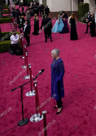 Glenn Close is interviewed on the red carpet at the Oscars, at Union Station in Los Angeles
