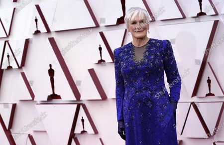 Glenn Close arrives for the 93rd annual Academy Awards ceremony at Union Station in Los Angeles, California, USA, 25 April 2021. The Oscars are presented for outstanding individual or collective efforts in filmmaking in 24 categories. The Oscars happen two months later than originally planned, due to the impact of the coronavirus COVID-19 pandemic on cinema.