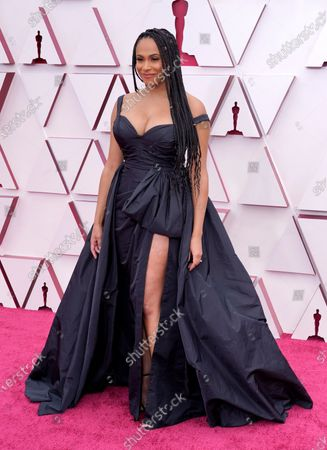Nicolette Robinson arrives for the 93rd annual Academy Awards ceremony at Union Station in Los Angeles, California, USA, 25 April 2021. The Oscars are presented for outstanding individual or collective efforts in filmmaking in 24 categories. The Oscars happen two months later than originally planned, due to the impact of the coronavirus COVID-19 pandemic on cinema.