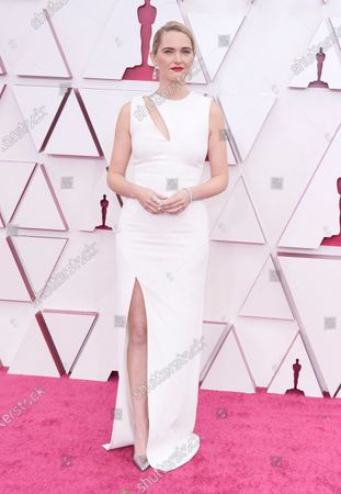 Jena Friedman arrives for the 93rd annual Academy Awards ceremony at Union Station in Los Angeles, California, USA, 25 April 2021. The Oscars are presented for outstanding individual or collective efforts in filmmaking in 24 categories. The Oscars happen two months later than originally planned, due to the impact of the coronavirus COVID-19 pandemic on cinema.