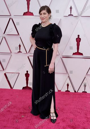 Mollye Asher arrives for the 93rd annual Academy Awards ceremony at Union Station in Los Angeles, California, USA, 25 April 2021. The Oscars are presented for outstanding individual or collective efforts in filmmaking in 24 categories. The Oscars happen two months later than originally planned, due to the impact of the coronavirus COVID-19 pandemic on cinema.