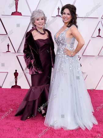 Stock Image of Rita Moreno (L) and Fernanda Luisa Gordon arrive for the 93rd annual Academy Awards ceremony at Union Station in Los Angeles, California, USA, 25 April 2021. The Oscars are presented for outstanding individual or collective efforts in filmmaking in 24 categories. The Oscars happen two months later than originally planned, due to the impact of the coronavirus COVID-19 pandemic on cinema.