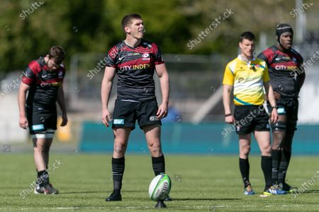 Owen Farrell of Saracens looks on during the Greene King IPA Championship match between Saracens and Ealing Trailfinders at StoneX Stadium, London on Sunday 25th April 2021.