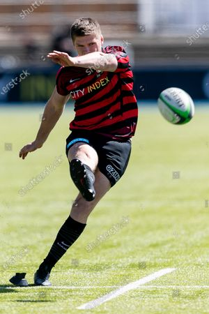 Owen Farrell of Saracens warms up prior to the Greene King IPA Championship match between Saracens and Ealing Trailfinders at StoneX Stadium, London on Sunday 25th April 2021.