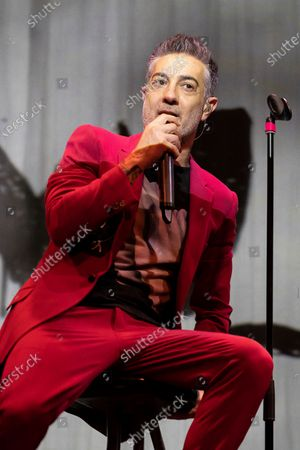 Stock Photo of The singer Jose Molinero known as J. Molly from the heavy metal band Hamlet, during the performance at the Munos Seca theater