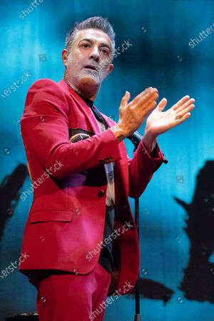 Stock Picture of The singer Jose Molinero known as J. Molly from the heavy metal band Hamlet, during the performance at the Munos Seca theater